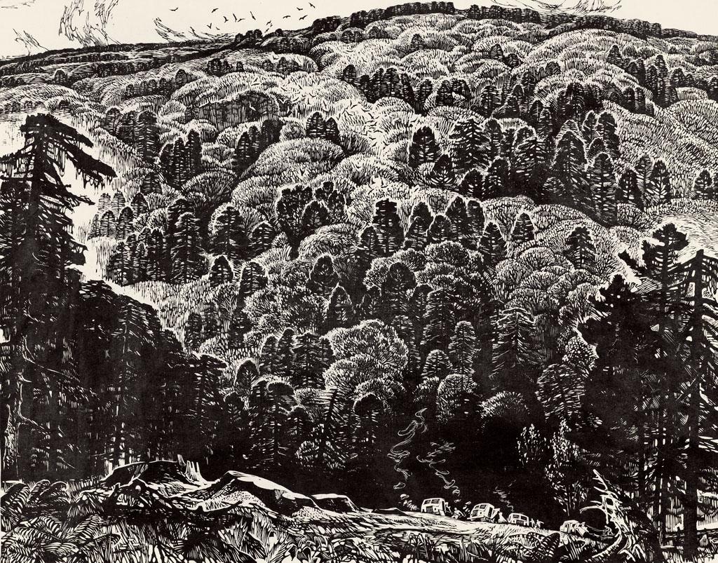 8 材质:黑白木刻 版画 尺寸: 37.5×47.2 cm.