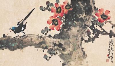 木棉花树的拓印画