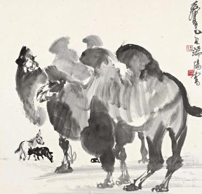 年春季拍卖会 中国书画 二 黄胄 1925 1997 乙丑 1985年 作 骆驼与驴