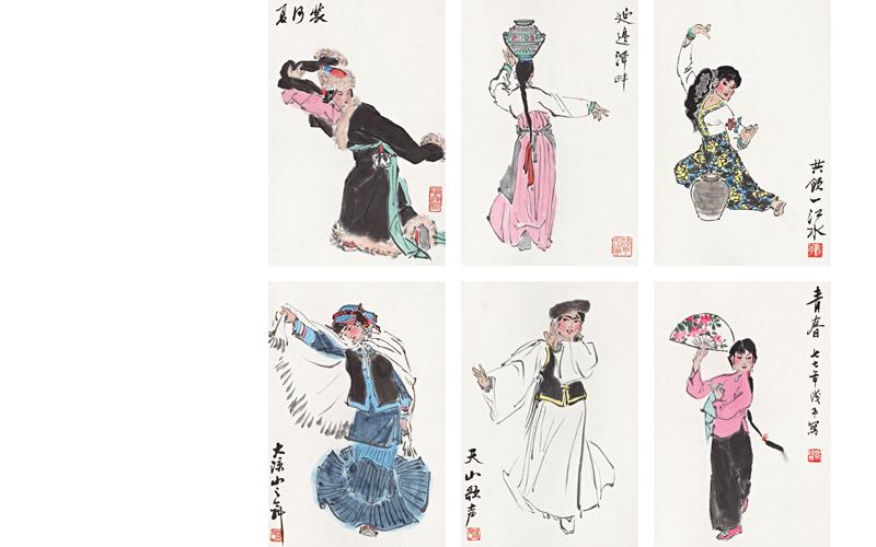 朝鲜族,傣族,彝族,维族和汉族的舞蹈人物,仅 乐乐简笔画